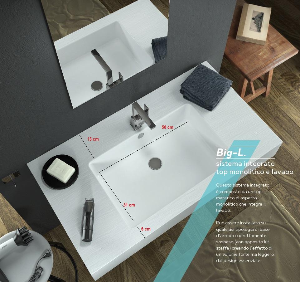 Relax Design - Top con Lavabo Integrato da 50 cm in Marmo Resina