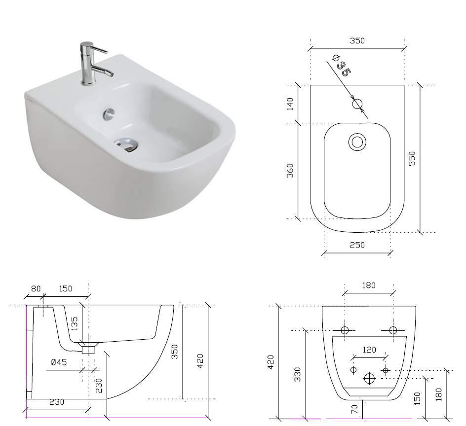 Galassia sanitari sospesi plus design galassia for Architec bidet sospeso
