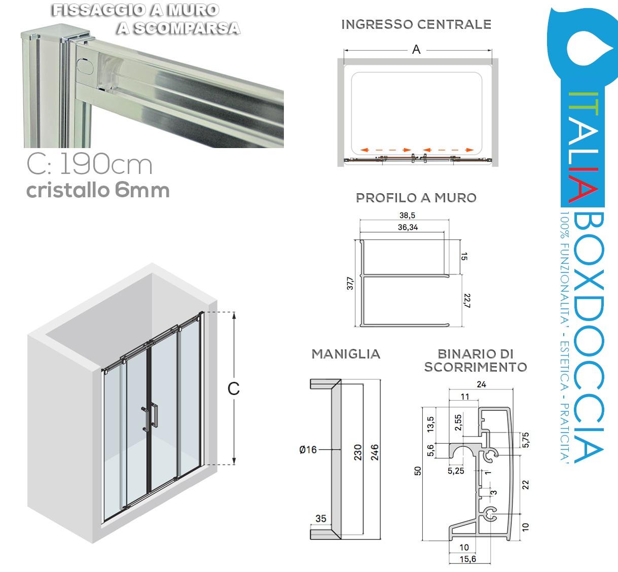Box doccia scorrevole per nicchia cristallo 6 mm - Altezza box doccia ...