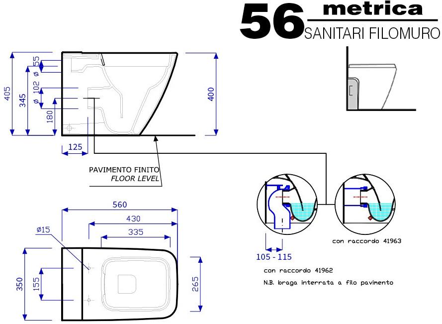 Pozzi ginori sanitari metrica con tecnologia rimfree senza brida - Misure sanitari bagno ...