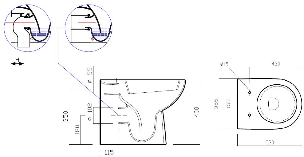 Pozzi ginori vaso selnova 3 pozzi ginori filo parete for Dimensioni water