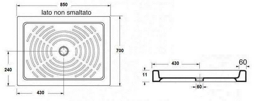Piatto doccia in ceramica 70x85 cm h 11 - Piatto doccia 70x85 ...