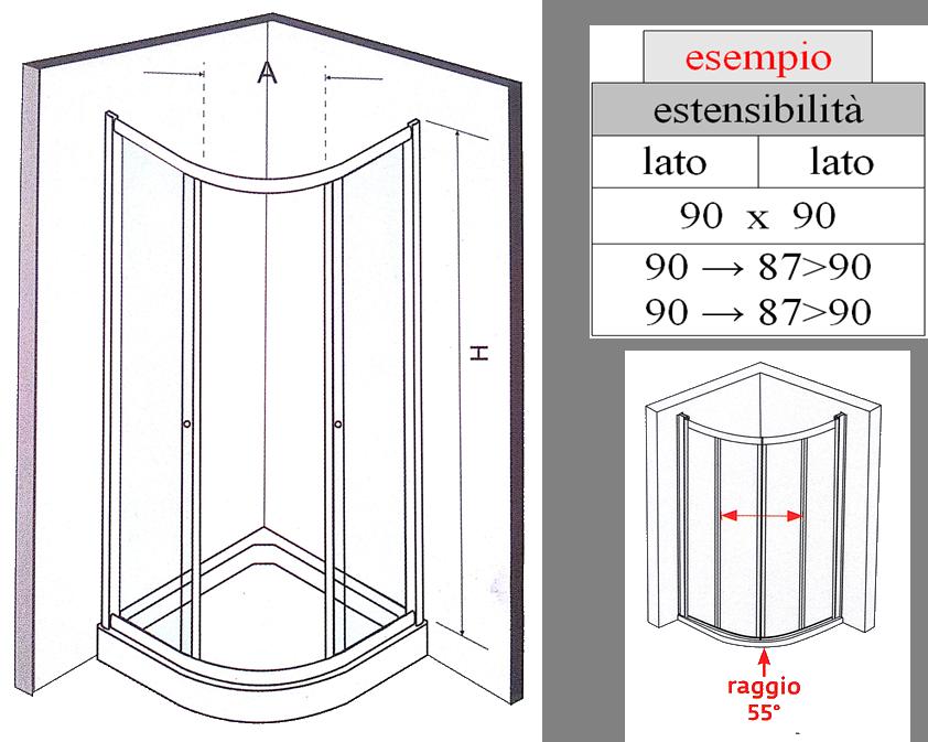 Scheda Tecnica Cabina Doccia.Elba Box Doccia Semicircolatre