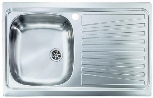 Lavello Cucina a vasca singola 86x50 cm in acciaio inox con ...
