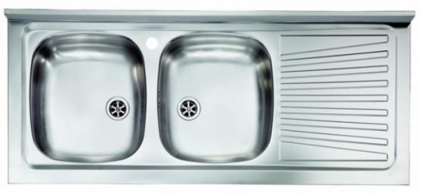 Lavello appoggio due vasche a sinistra 120 x 50 cm in acciaio inox ed  accessori - Vendita Online ItaliaBoxDoccia