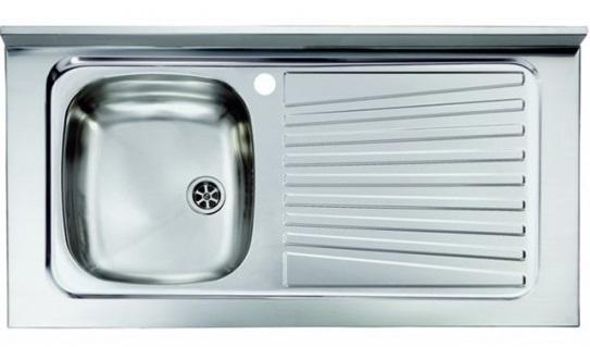 Lavello appoggio unica vasca a sinistra 80 x 50 cm in acciaio inox ...