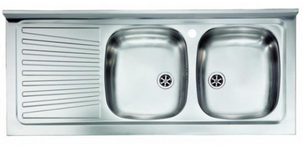 Lavello appoggio due vasche a destra 120 x 50 cm in acciaio inox ed  accessori - Vendita Online ItaliaBoxDoccia