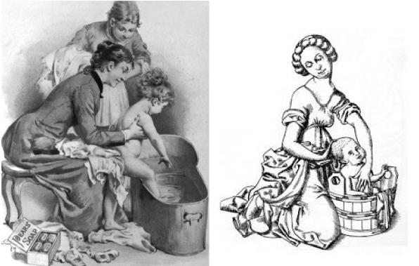 Come si lavavano i bambini in passato