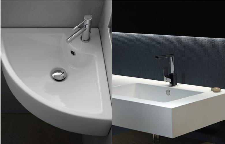 Lavabo ad angolo e lavabo integrato