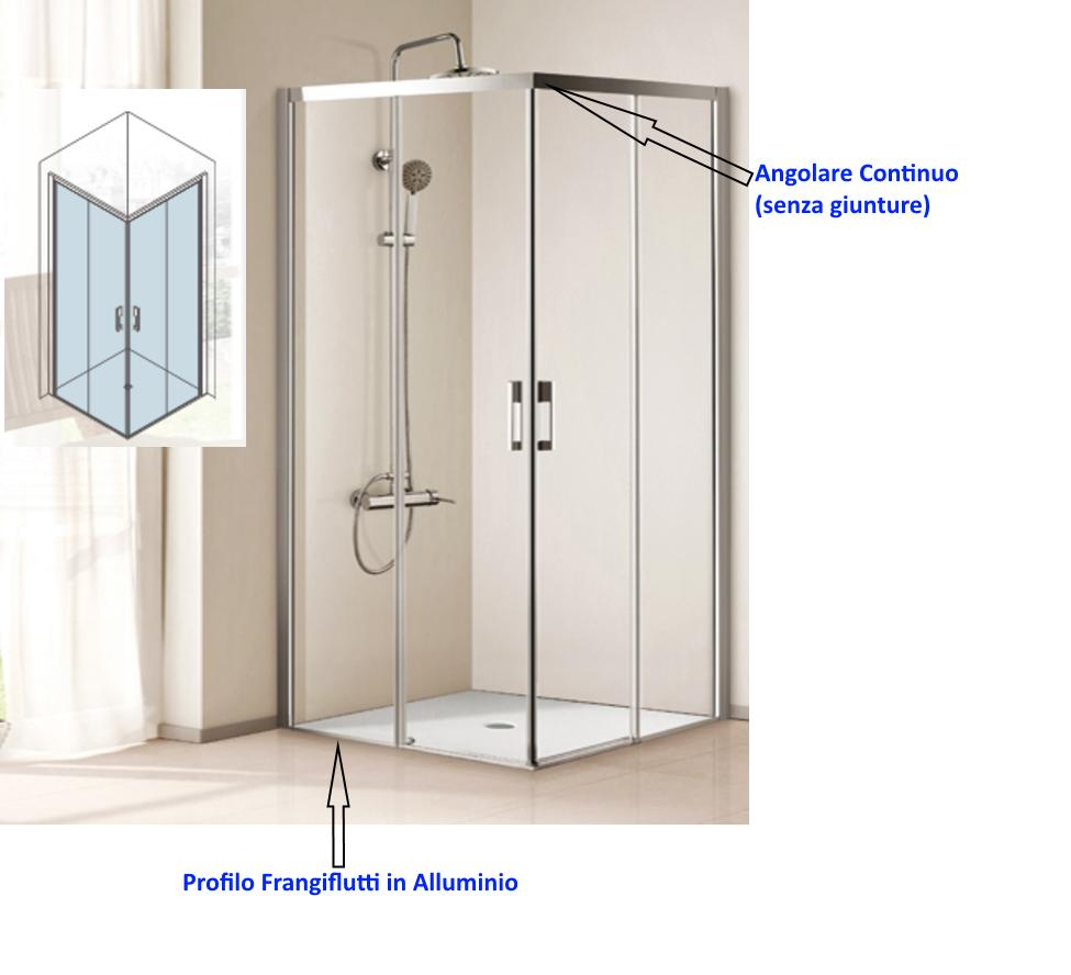 Box doccia angolare cristallo 6 mm cod p107 vendita - Il box doccia ...