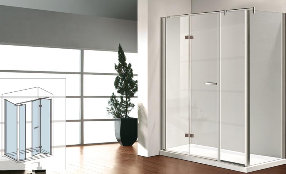 Osb box doccia con porta girevole anta fissa e parete - Porta doccia pieghevole ...