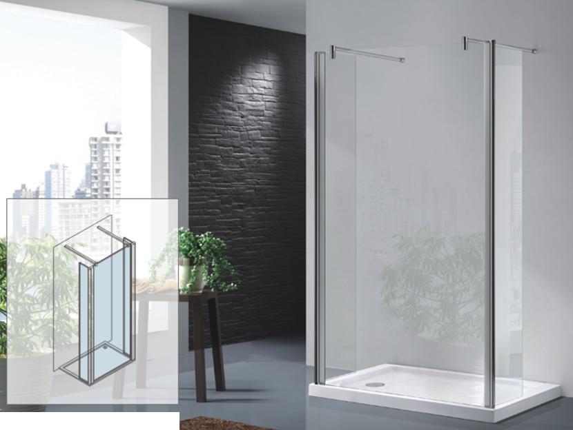 Osb parete walk in con numero due antine paraspruzzi - Piatto doccia 70x85 ...
