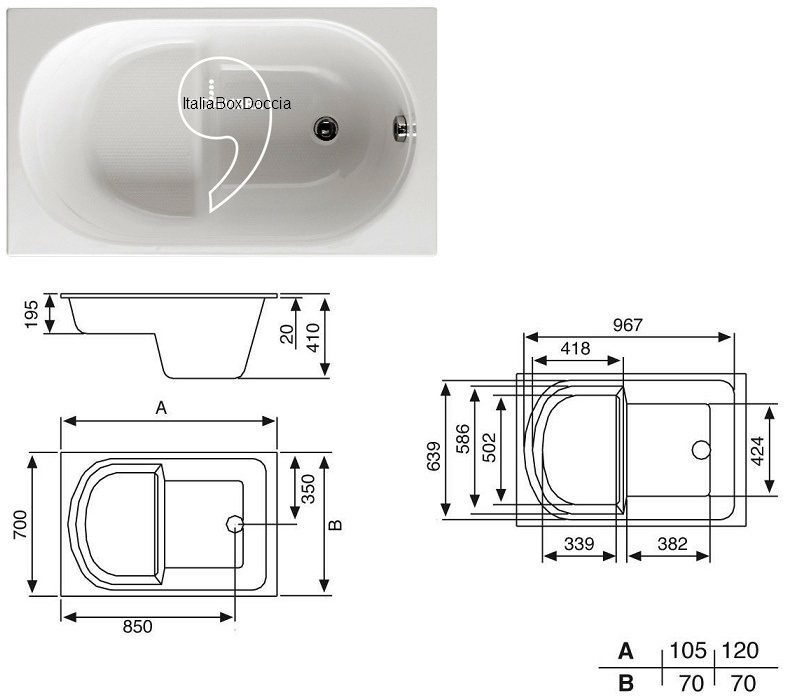 Glass vasca con pannello 70 x 105 cm in vetroresina - Seduta vasca da bagno ...