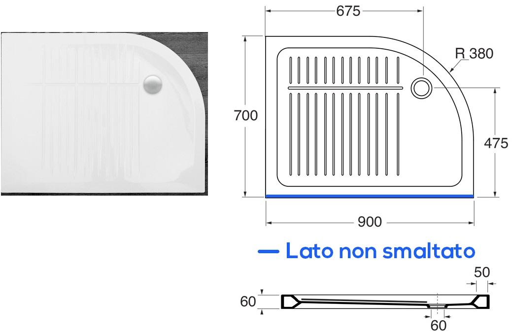 Azzura piatto doccia slim cm 90x70 angolo sinistro inclusa piletta - Piatto doccia incassato nel pavimento ...