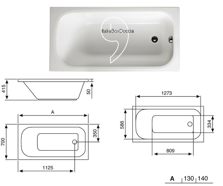 Glass vasca con pannello 70 x 140 cm in vetroresina altezza 60 cm for Dimensioni vasca da bagno standard