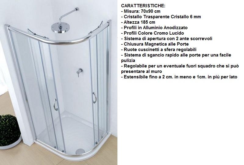 Box Doccia Circolare 70x90.Piatto Doccia Marmo Resina Stondato 70x90 Cm H 3 Cm
