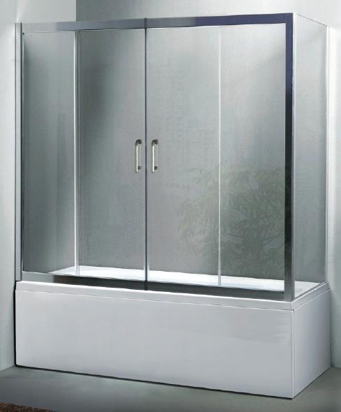 Box vasca a tre lati apertura centrale cristallo 6 mm - Vasca da bagno in vetro ...