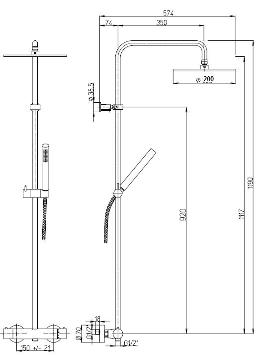 Jacuzzi sunset 0su00199ja05 colonna doccia miscelatore termostatico - Altezza soffione doccia ...