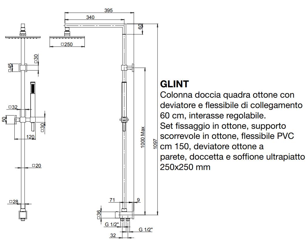 Jacuzzi glint 0iq00846ja01 colonna doccia con deviatore - Altezza soffione doccia ...