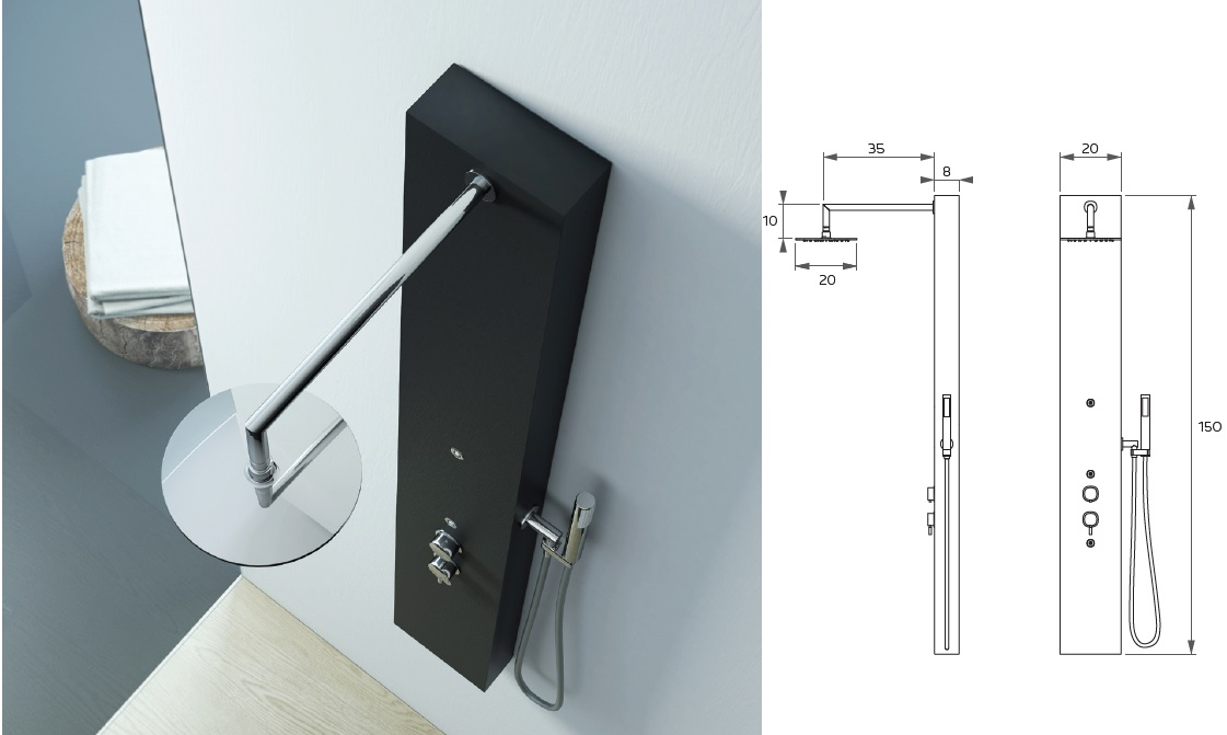 Relax design colonna doccia elle in pietra sintetica ardesia