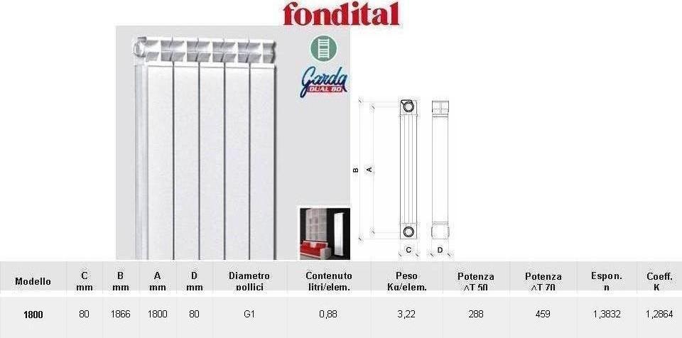 Radiatore in alluminio interasse 1800 fondital vendita for 1800 costo seminterrato