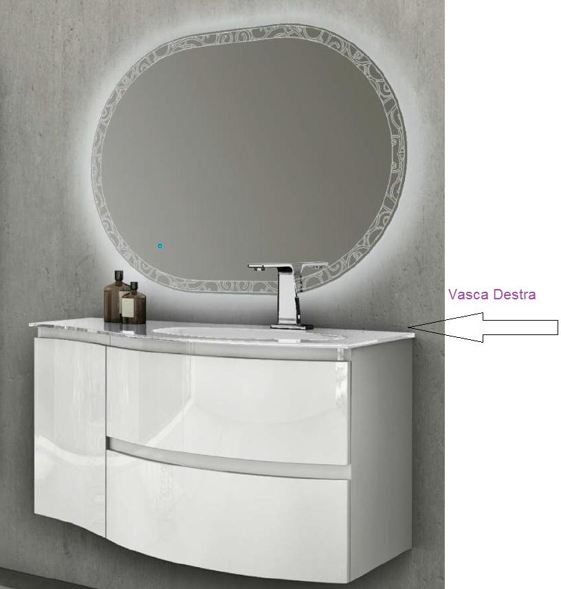 Baden Haus - Mobile da Bagno Sospeso 104 cm Vague Bianco Lucido