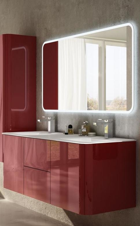 Baden Haus - Mobile da Bagno Sospeso 140 cm Liverpool Rosso