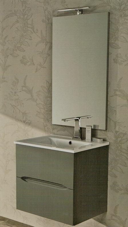 Baden haus mobile da bagno 60 cm grigio talpa sospeso for Larghezza mobile bagno