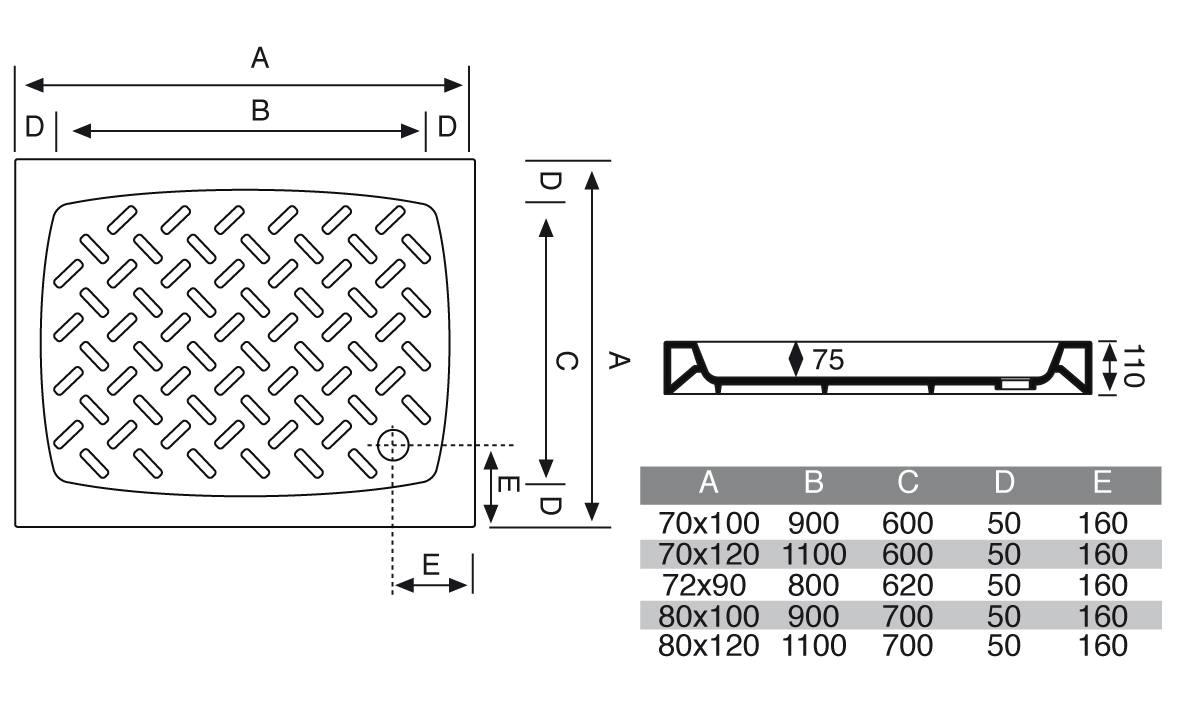 Piatto doccia 70x120 cm rettangolare in porcellana - Piatto doccia 70x85 ...