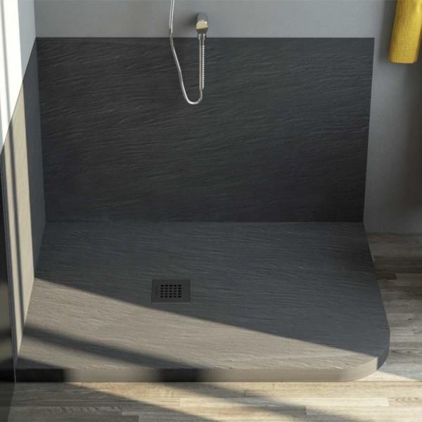 Piatto doccia marmo resina stondato 70x90 cm h 3 cm - Piatto doccia incassato nel pavimento ...