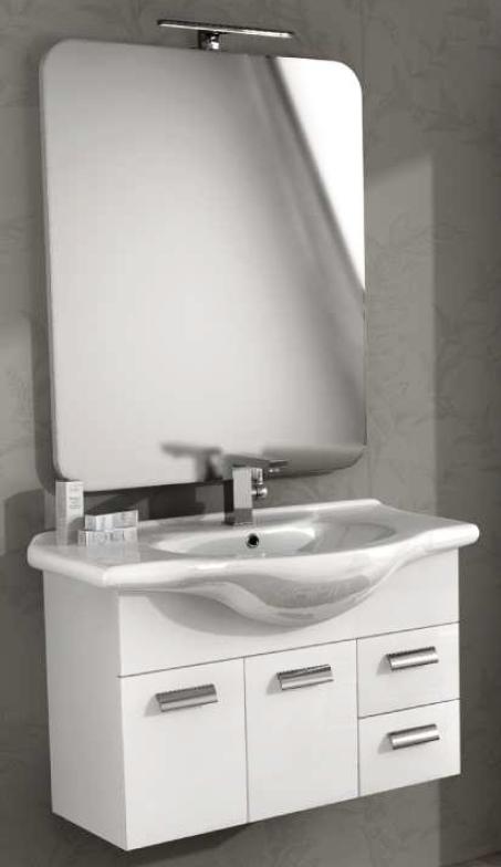Baden haus mobile da bagno 85 cm rovereto bianco sospeso for Arredamento rovereto