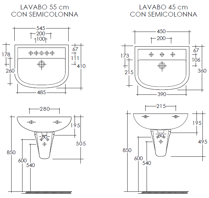 Rak ceramics lavabo e semicolonna compact disponibile in - Lavabo bagno piccolo misure ...
