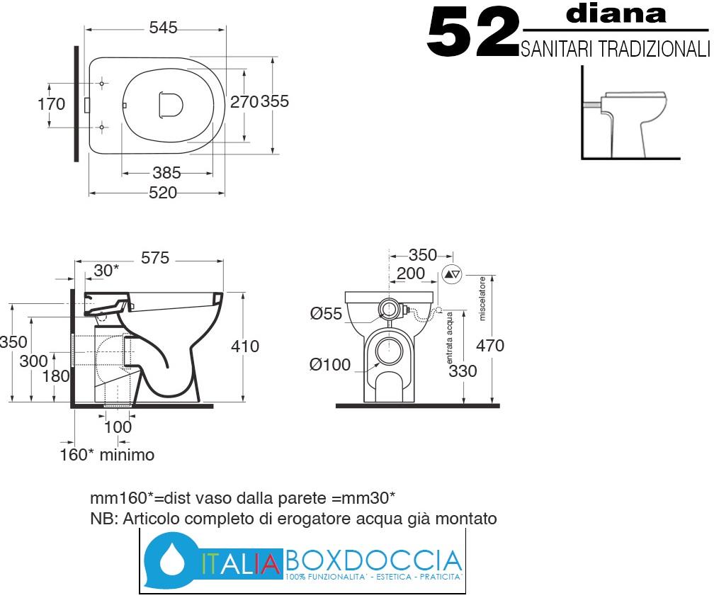Sanitari Vaso Bidet Erogatore Incorporato Mod Diana.Vaso Bidet Completo Di Sedile Diana Azzurra Vendita Online Italiaboxdoccia
