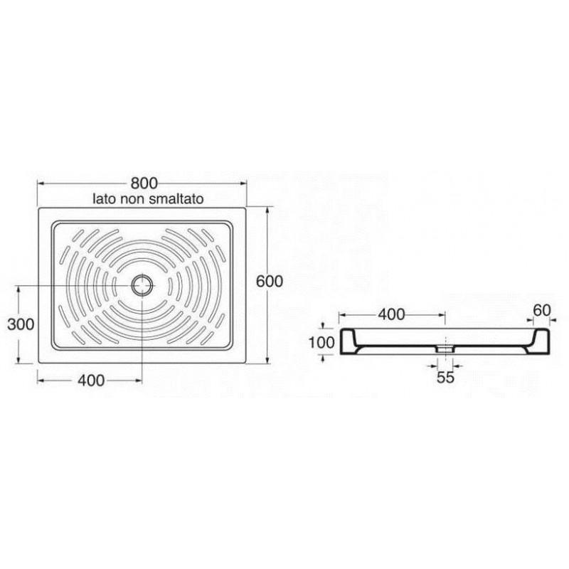 Dimensione Piatto Doccia 60x90.Piatto Doccia In Ceramica Misura 60x80 Cm