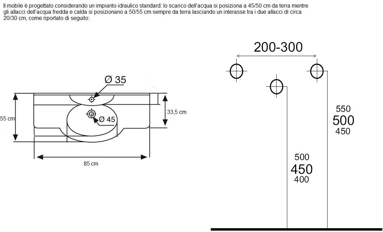 Misure Mobile Lavabo Bagno | Oostwand
