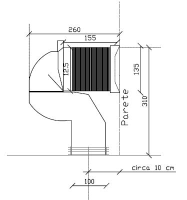 Dimensione Tubo Scarico Wc.Curva Tecnica Regolabile Da Cm 16 A Cm 22 Per Vecchi Impianti